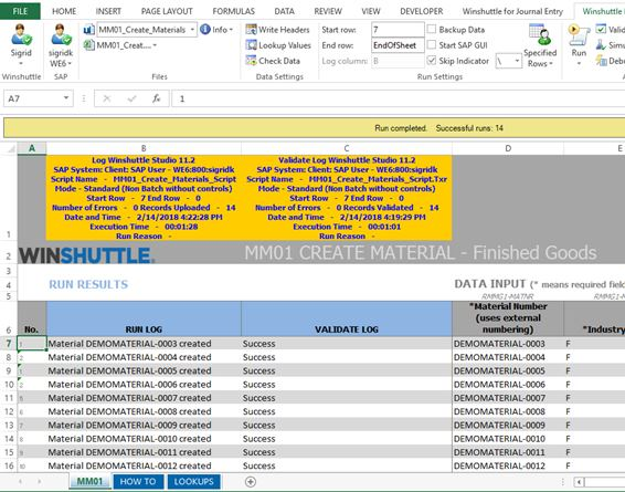 Winshuttle Studio to migrate materials